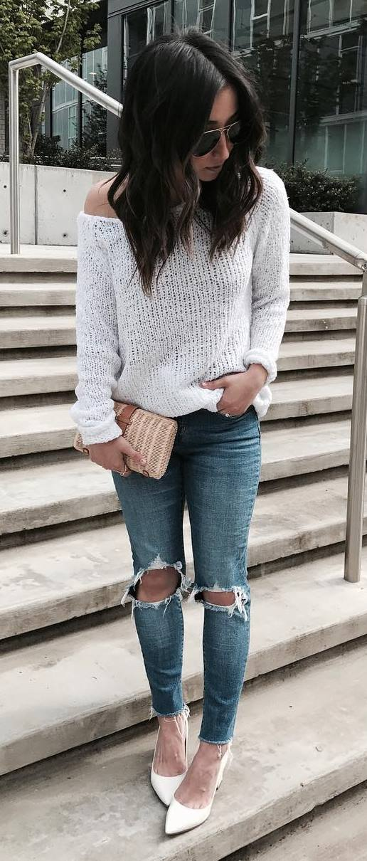 cute outfit: knit + rips