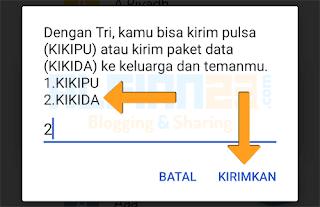pilih kikida di dial untuk transfer kuota data