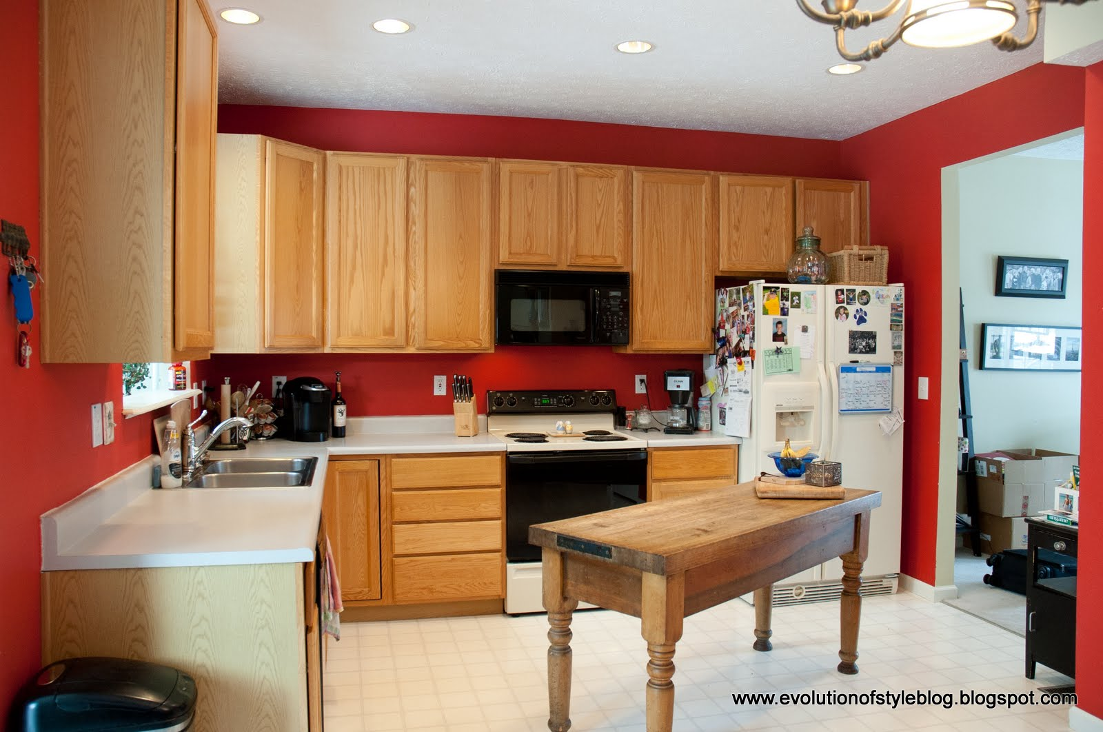 Oak kitchen reveal from builder grade to custom made - Builder grade oak kitchen cabinets ...