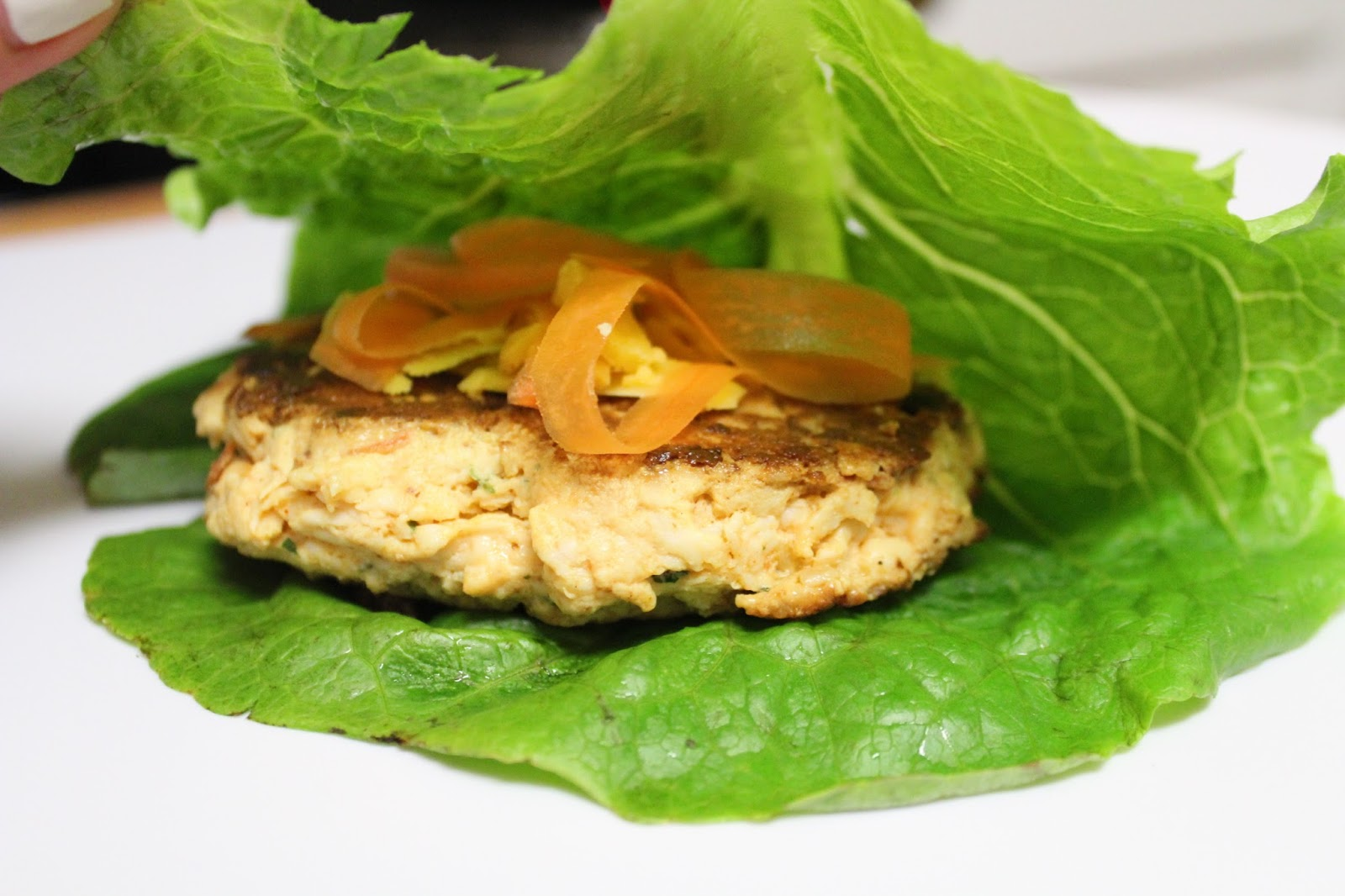 Spicy Buffalo chicken burgers with a lettuce wrap and buffalo ranch