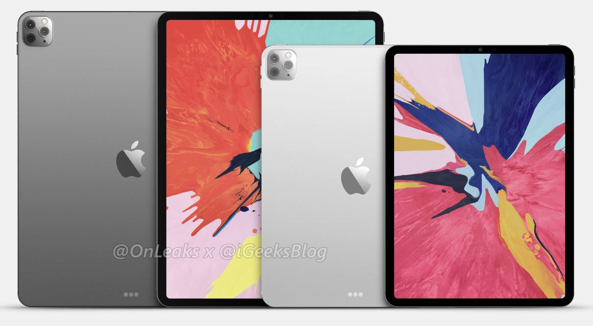 With a camera, like the iPhone 11 Pro. iPad Pro 2020 poses on renders that are as close as possible to reality
