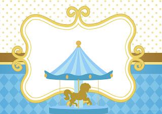Carousel in Light Blue: Free Printable Invitations.
