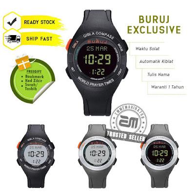 (Buruj Exclusive) Jam Tangan Solat Digital dan Arah Kiblat