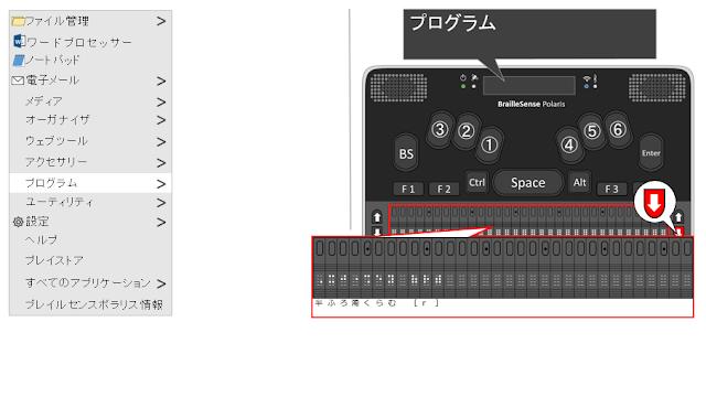 プログラムと表示され、下スクロールキーが赤く示されたポラリスのイメージ図