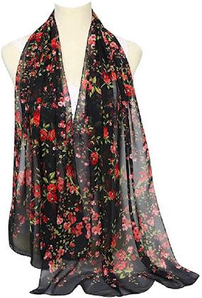 Floral Long Chiffon Scarves Shawls