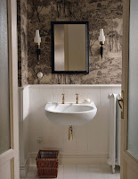 Unique bathroom ideas with vintage wallpaper wall paneling and black framed wall mirror
