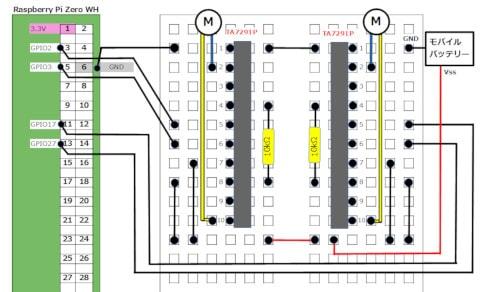 Raspberry Pi Zero WH モータードライバーの配線
