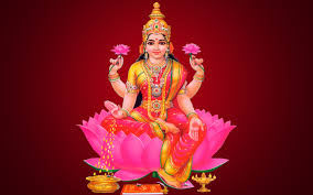Maa Lakshmi Wallpaper In Red Background