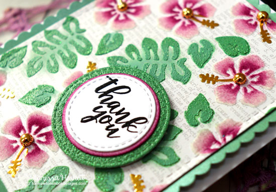 Hibiscus Thank You Card by Larissa Heskett | Hibiscus Stencil Set, Peony Blooms Stamp Set, Frames Squared Die Set and Frames & Flags Die Set by Newton's Nook Designs #newtonsnook #handmade