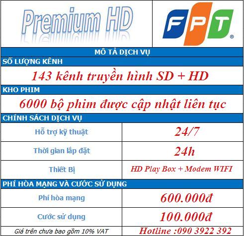 Gói cước Premium HD - Truyền Hình FPT Play HD