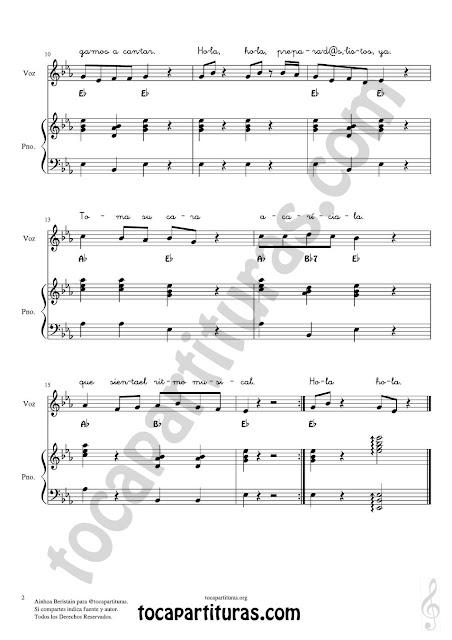 Hoja 2 Bienvenid@s Partitura para Melodía con Acordes y letra + Piano acompañamiento sencillo marcando el ritmo de la canción (Easy Piano accompaniment Sheet Music