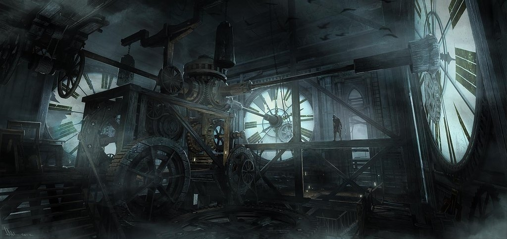 01-Clock-Tower-Hideout-Mathieu-Latour-Duhaime-Concept-Art-for-Thief-Steampunk-feel-Video-Game-www-designstack-co