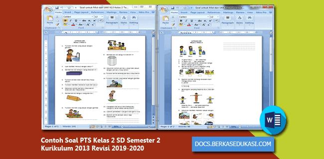 Contoh Soal PTS Kelas 2 SD Semester 2 Kurikulum 2013 Revisi 2019-2020