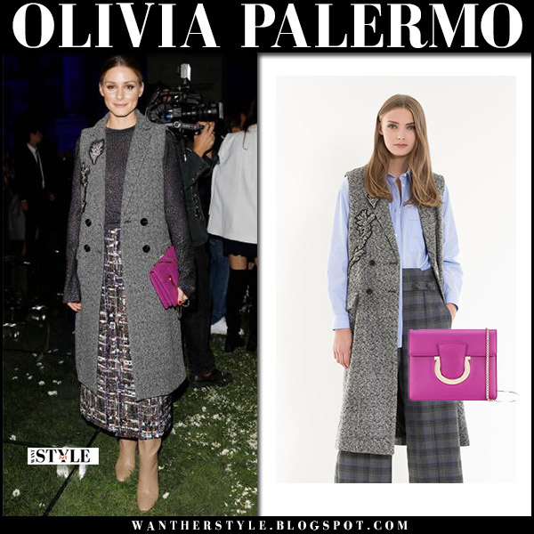 Olivia Palermo in grey tweed sleeveless coat with boucle midi skirt and pink bag front row at Milan Fashion Week salvatore ferragamo september 23 2017 fashion fall