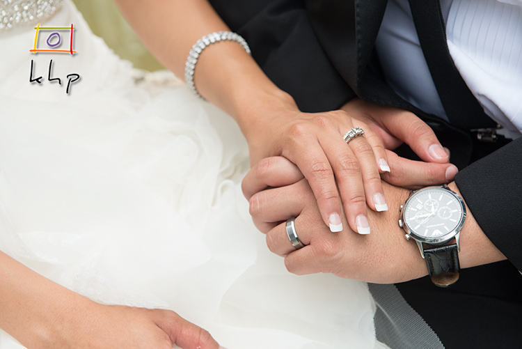The rings on the newlyweds' fingers.