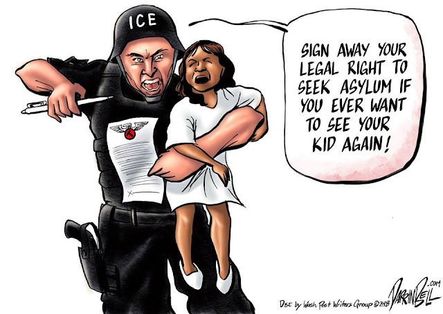 ICE officer holding screaming child, holding a pen, and saying,