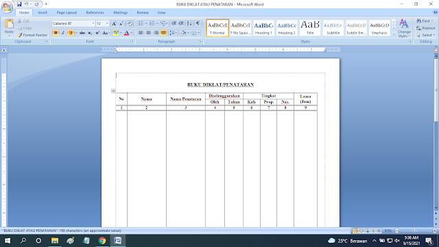 Download Format Buku Diklat Penataran Format Word