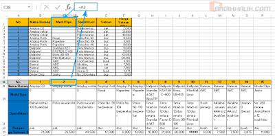 Cara convert (mengubah) baris ke kolom di Excel