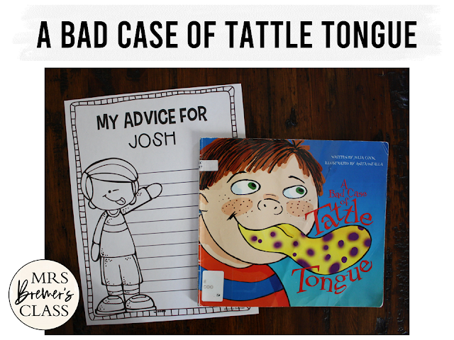 A Bad Case of Tattle Tongue book study back to school literacy unit with Common Core aligned companion activities and a tattle rules poster for K-1