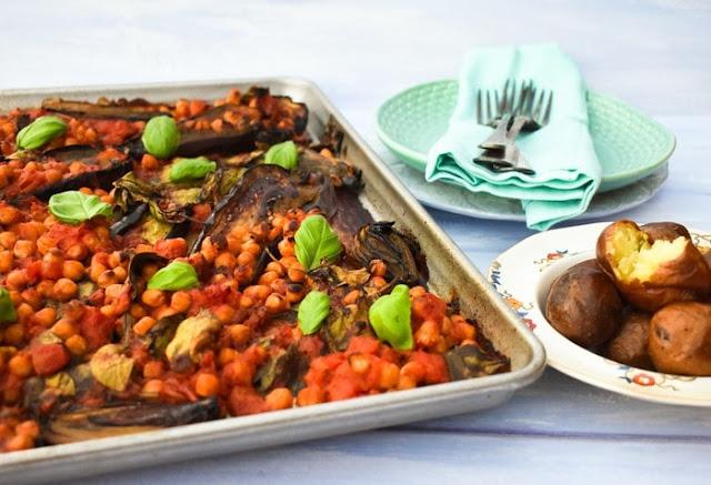 Sheet Pan Aubergine (Eggplant) & Chickpea Bake