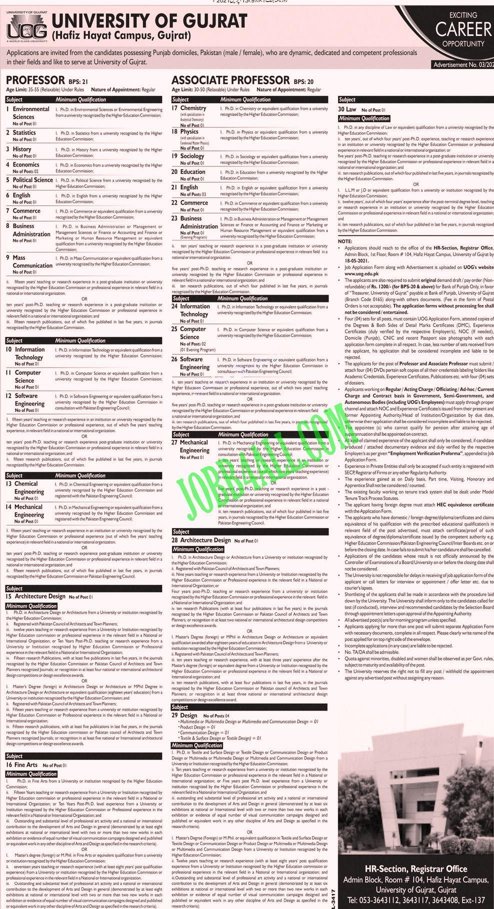 University Of Gujarat UOG April Jobs 2021 in Pakistan