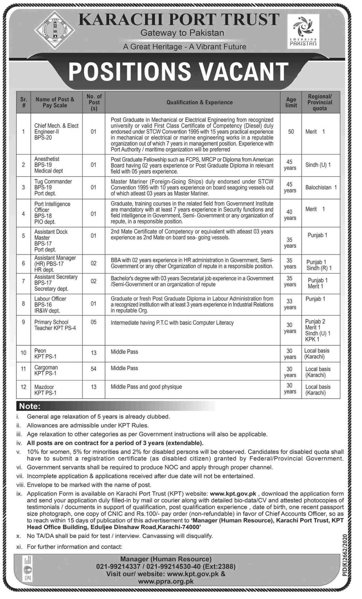 Karachi Port Trust KPT Jobs 2021 Advertisement