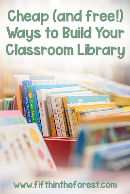 Image of a Children's Library. Above is the title: Cheap (and free!) Ways to Build Your Classroom Library www.fifthintheforest.com