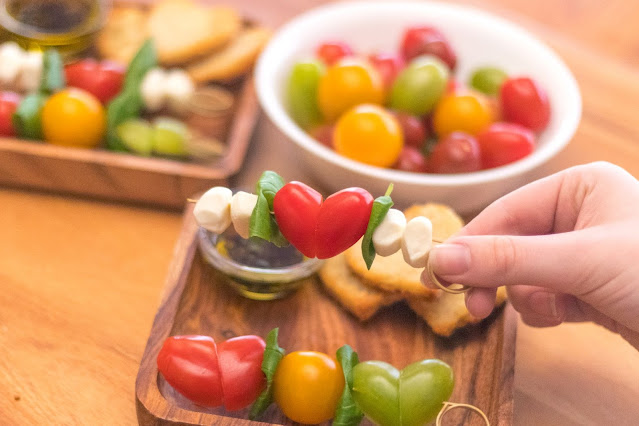 How to Make Heart-Shaped Caprese Salad Skewers
