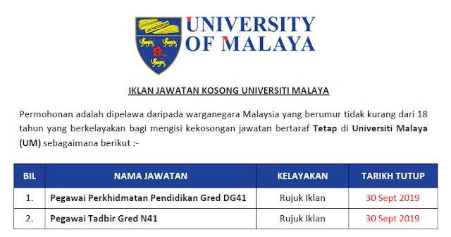 universiti malaya jawatan kosong