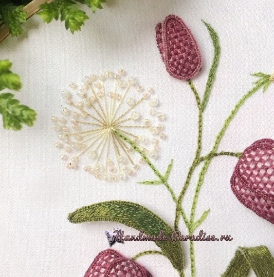Мастер-класс. Объемная вышивка тюльпаны (26)