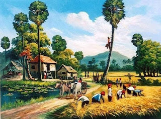 suasana panen padi jaman dahulu