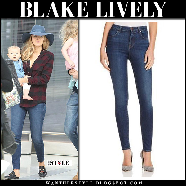Blake Lively in plaid shirt and supper skinny jeans j brand gucci slippers airport style august 26 2017