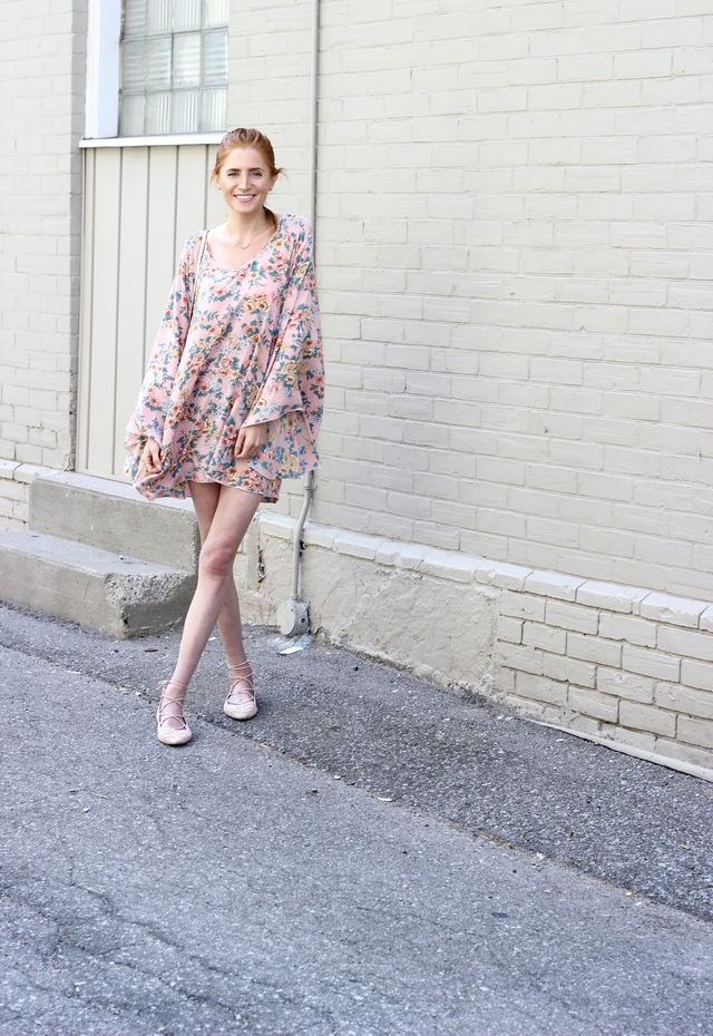 Auguste The Label pink floral shift dress, Rebecca Minkoff Micro Lexi Bucket Bag white, Topshop Toe Up flats, French braid, summer style