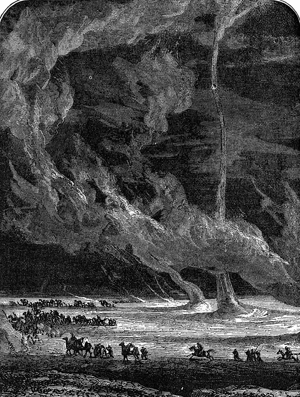 an illustration of sand twisters for a Camille Flammarion science book