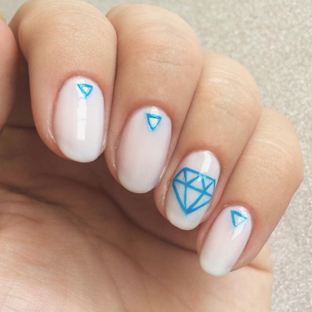 """Something Blue"" engagement nail art by @chalkboardnails"