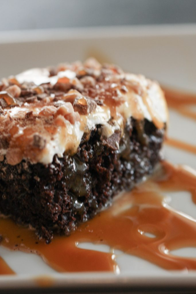 Chocolate Caramel Toffee Crunch Cake - this is the BEST dessert!