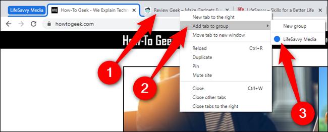 """انقر بزر الماوس الأيمن على علامة تبويب جديدة ، ومرّر مؤشر الماوس فوق """"إضافة علامة تبويب إلى مجموعة"""" ، ثم حدد مجموعة"""