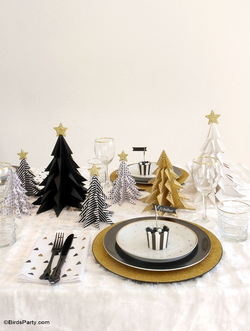 Black & Gold, Geometric Christmas Holidays Tablescape - BirdsParty.com