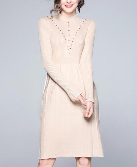 Half-Collar Slim Beaded Knit Sweater Dress