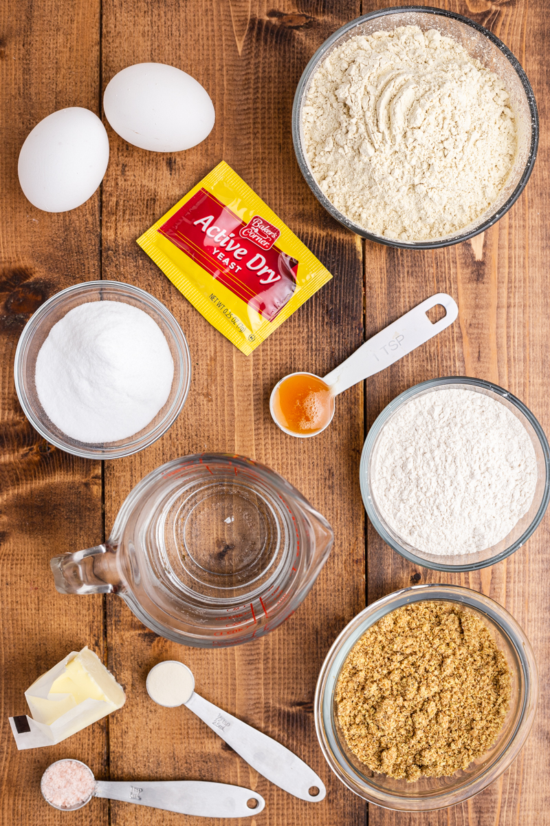 Overhead photo of the ingredients needed to make keto bread on a wooden table.