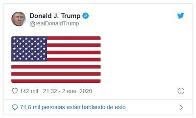 Tras la muerte de Qassem Soleimani, Donald Trump publicó la bandera de los Estados Unidos