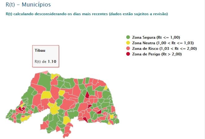 Taxa de transmissão da Covid-19 em Tibau na zona de 'risco'