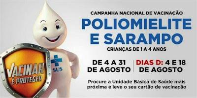 Campanha contra poliomielite/sarampo 2018 será neste sábado 18/08