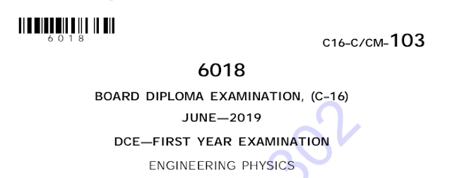 Diploma Previous Question Paper c16 civil 103 Engineering Physics March/April 2019