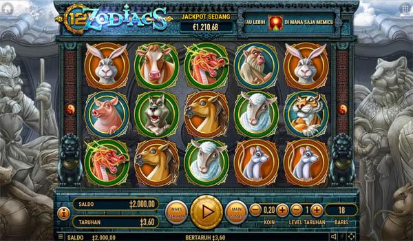 Main Gratis Slot Indonesia - 12 Zodiacs Habanero