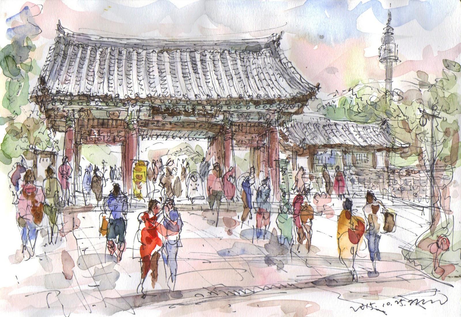 Several sketches at namsangol hanok village seoul urban sketchers