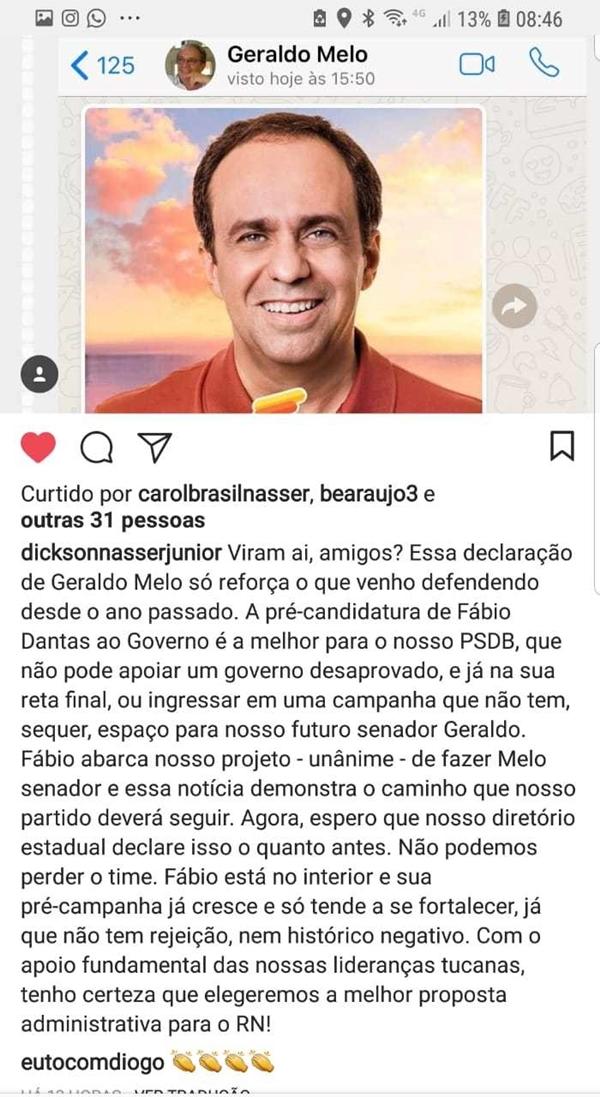 """Líder do PSDB Natal, Dickson defende que o partido declare """"o quanto antes"""" apoio a Fabio Dantas"""