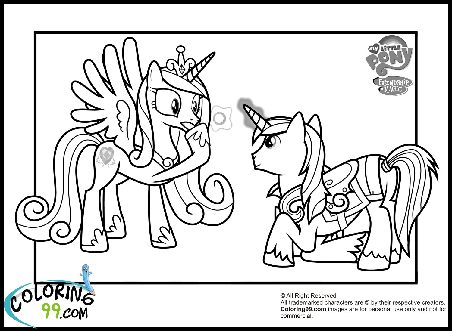 My Little Pony Coloring Pages Princess Cadence Wedding Coloring Page