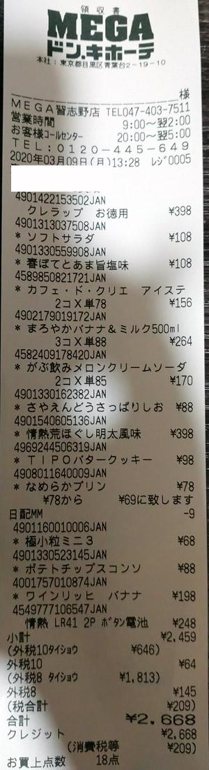 MEGAドン・キホーテ 船橋習志野店 2020/3/9 のレシート
