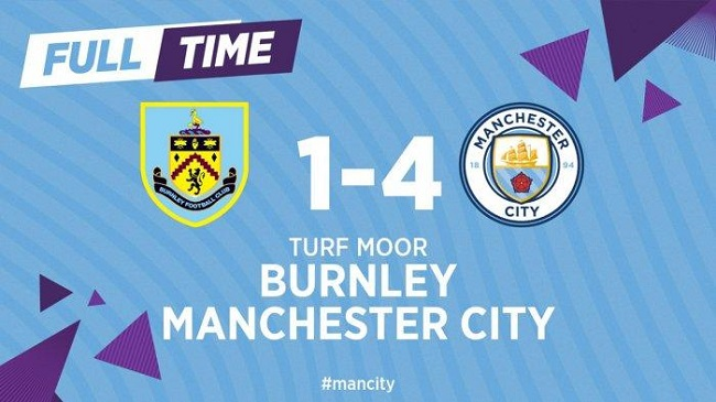 cuplikan gol burnley vs manchester city 1-4